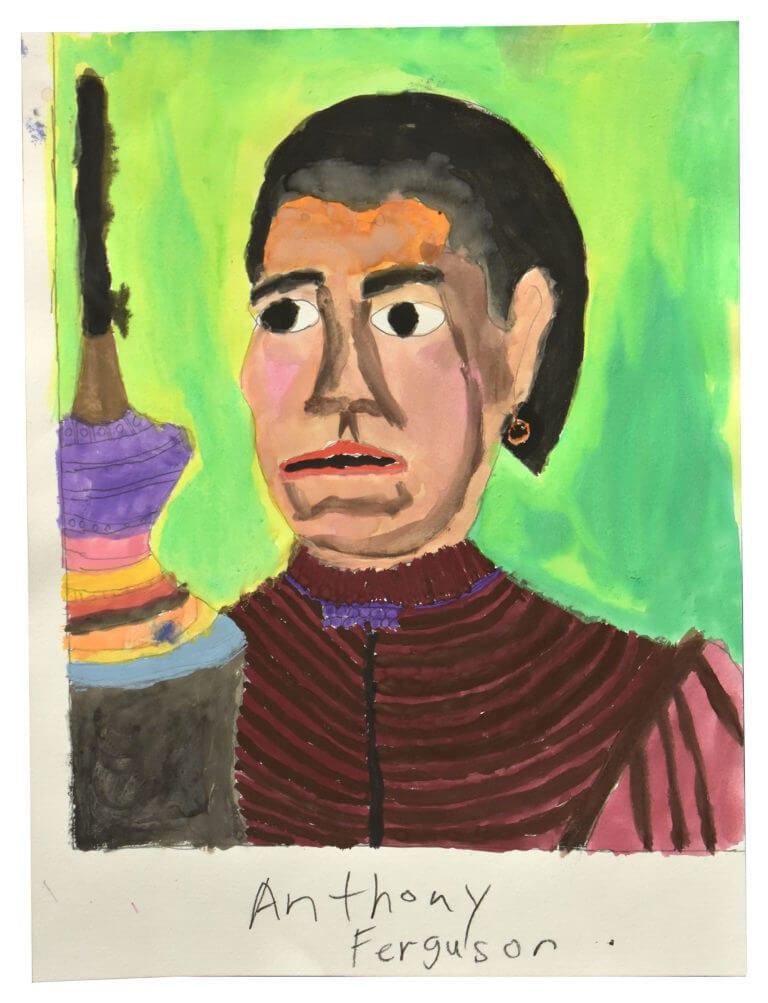 A watercolor portrait of a man