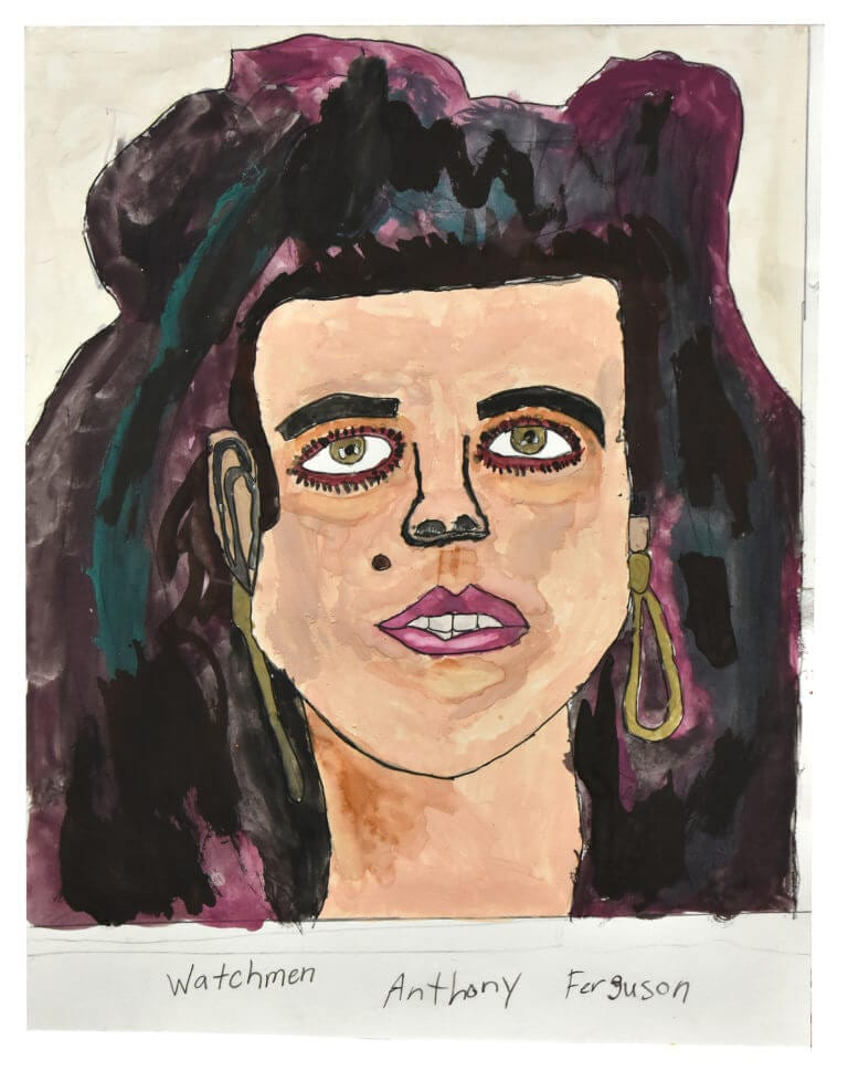 """A watercolor portrait based on a photo of a woman from the """"The Watchman"""" book of portraits by Clay Enos"""