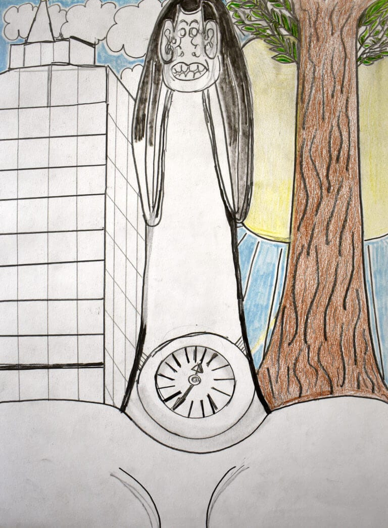 The figure of a woman sits between a tree and a building. She wears a clock around her waist