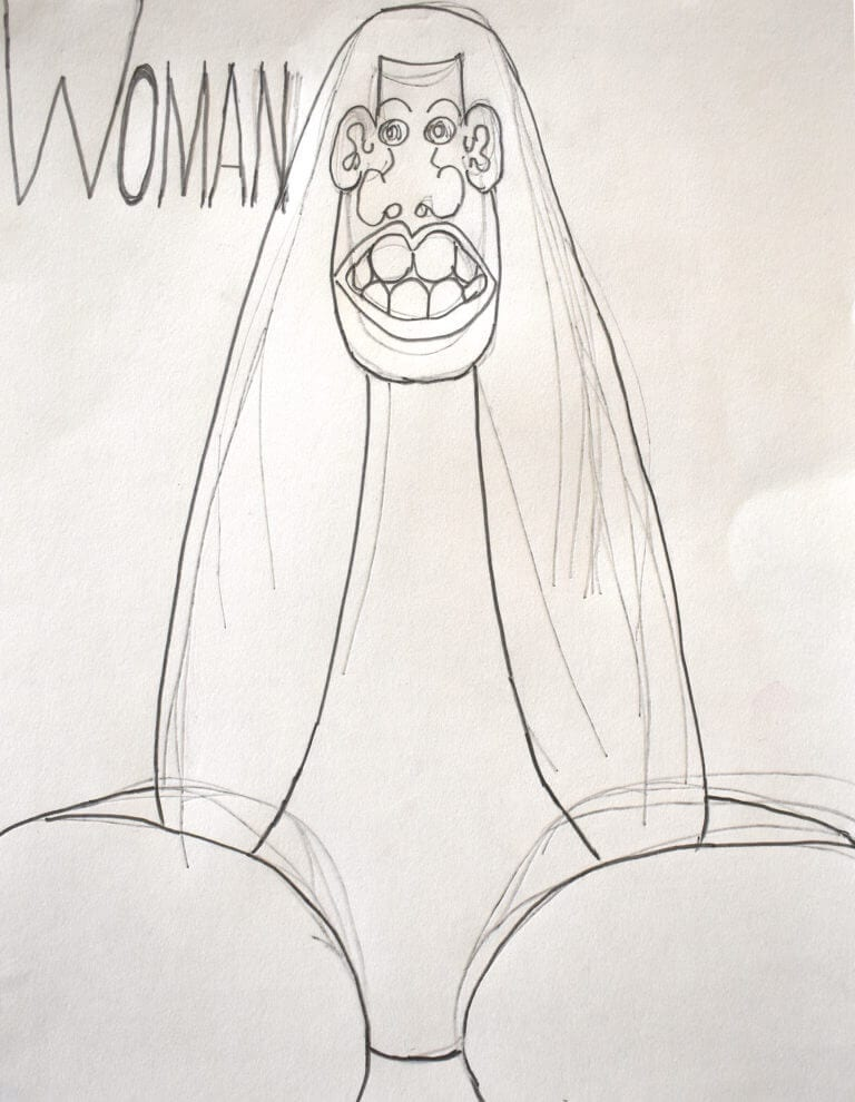 A portrait of a woman with exaggerated facial features, drawn in pencil