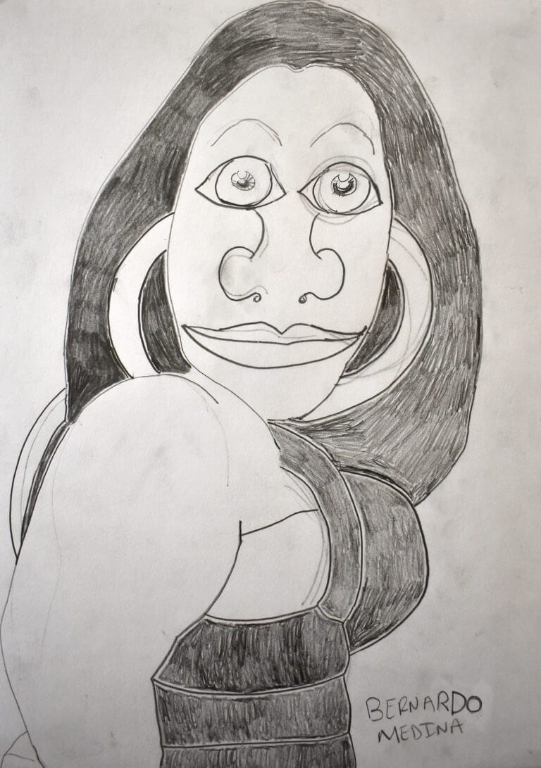 A cartoon-like pencil rendering of a woman