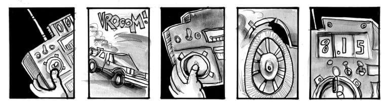 Doc Brown uses a remote control to drive the DeLorean