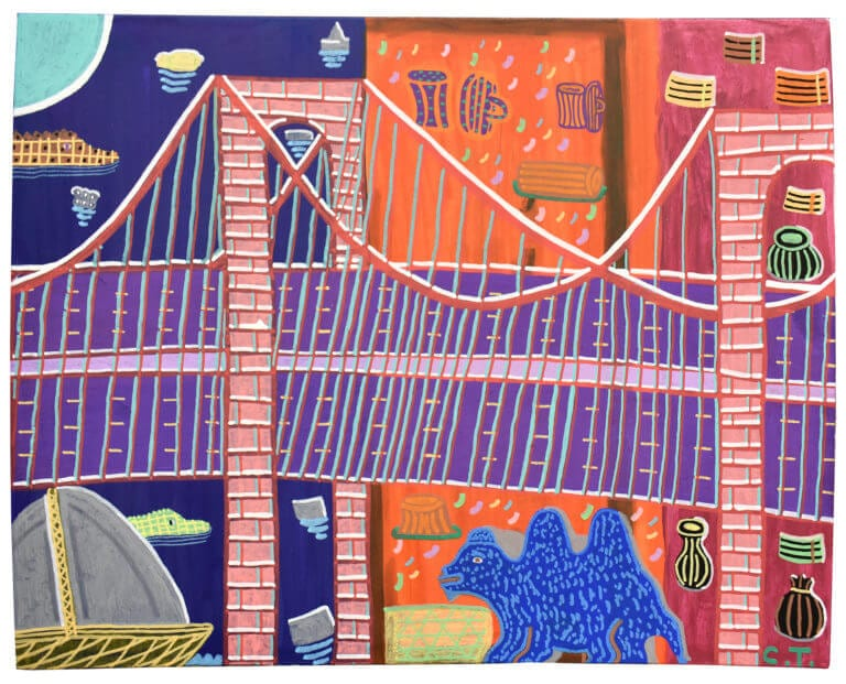 A scene of a city, dominated by a detailed bridge, with a prehistoric creature standing beneath