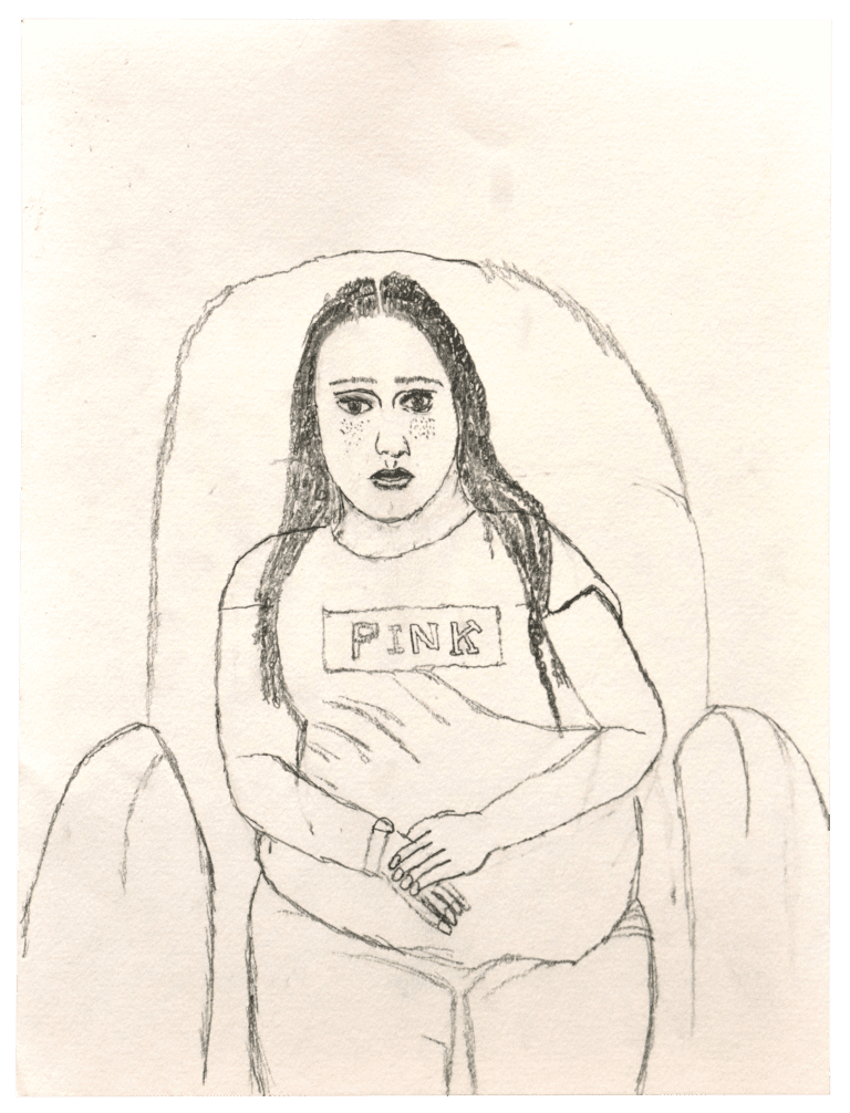 A portrait of a female life model, rendered in pencil