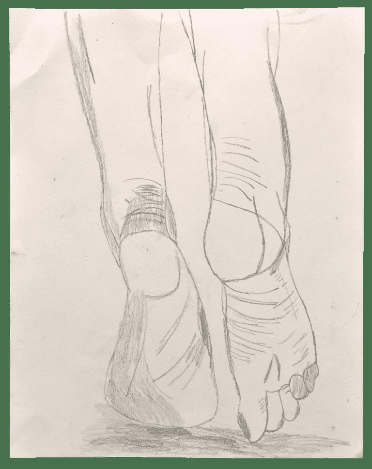 A pencil drawing of human feet