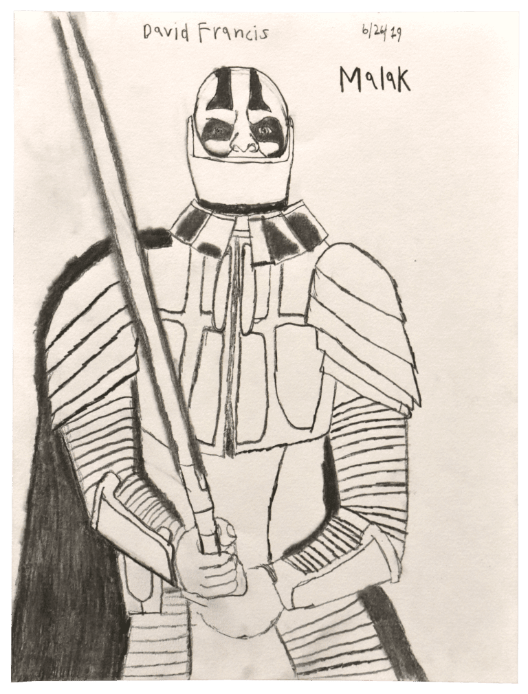 A pencil drawing of a warrior character, as he holds his sword, preparing for battle