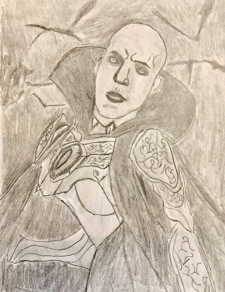 A pencil drawing of a Gothic character, dresses in armor