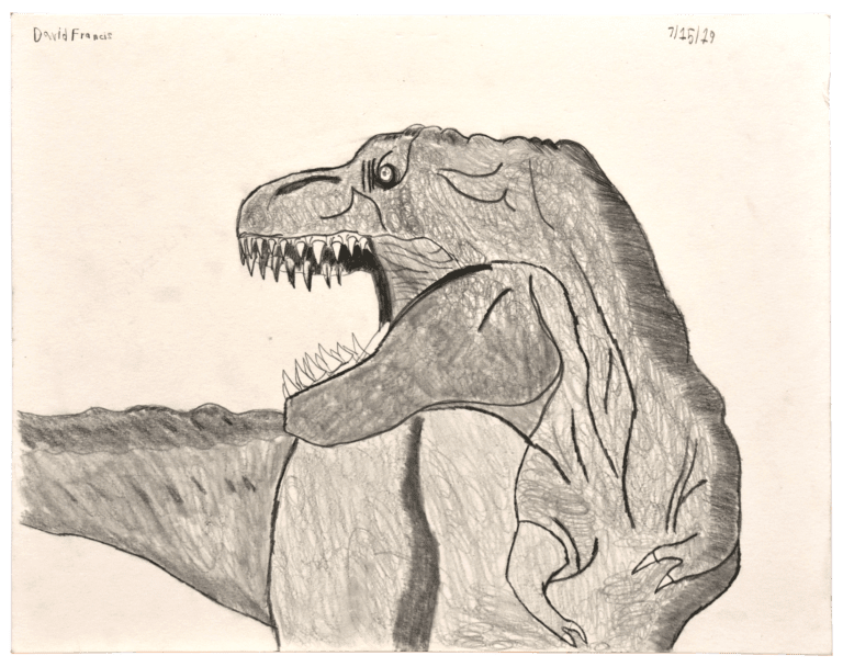 A pencil drawing of tyrannosaurus rex