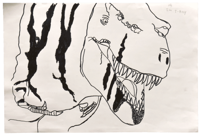 A marker drawing of a carnivorous dinosaur