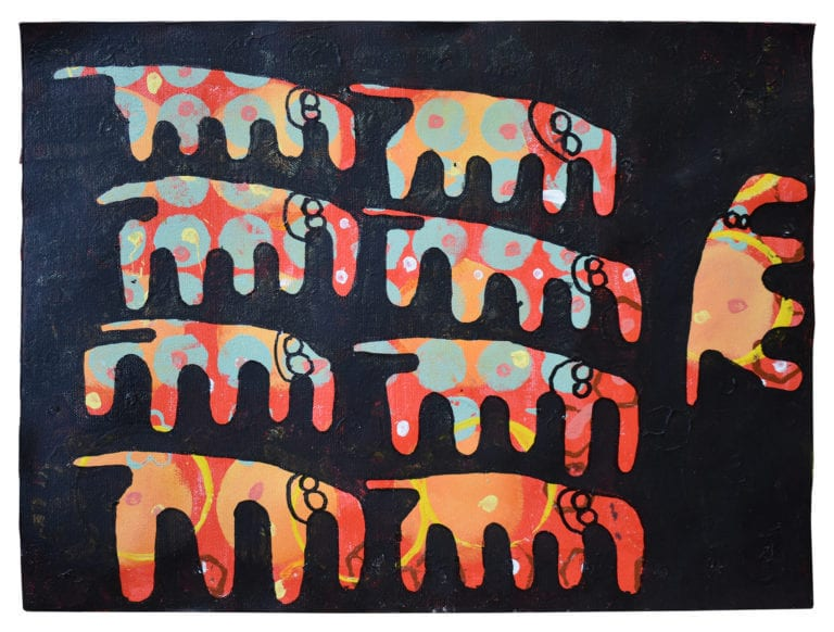 Eight colorful elephants fill a black frame, with a ninth elephant turned sideways, counter to the shape of the herd