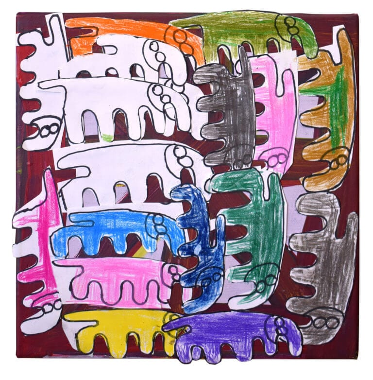 Cut-paper elephants of different colors, arranged vertically and horizontally on a maroon painted background