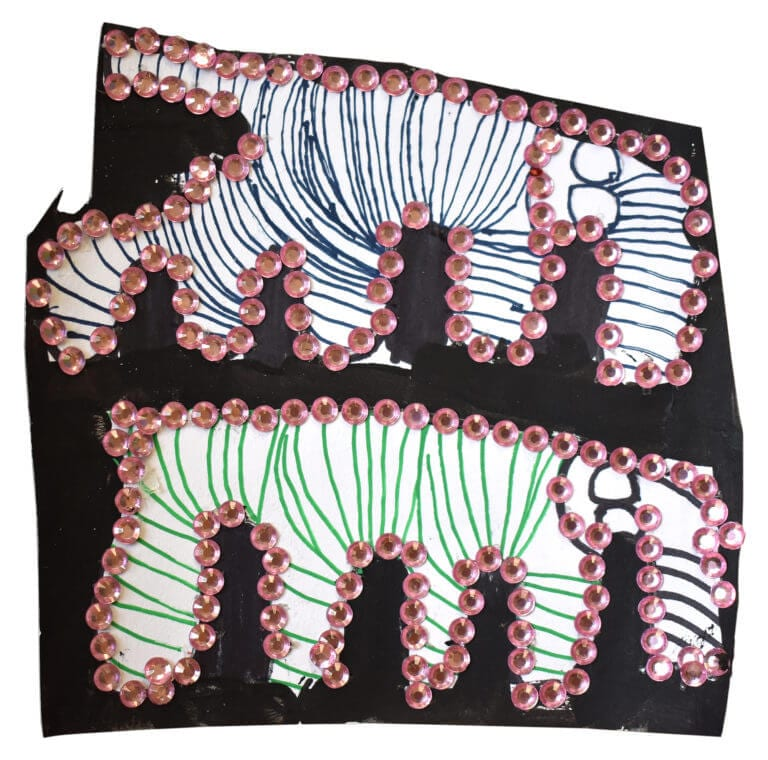 Two paper elephants, each boardered by small pink rhinestones, stand in a black background