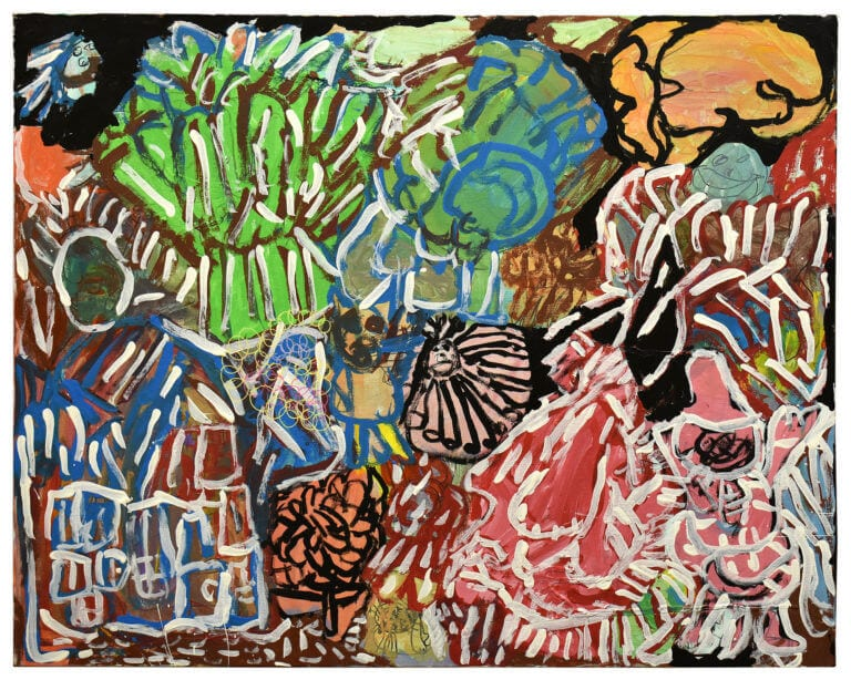 A multi-colored painting of abstract shapes, including a mosquito