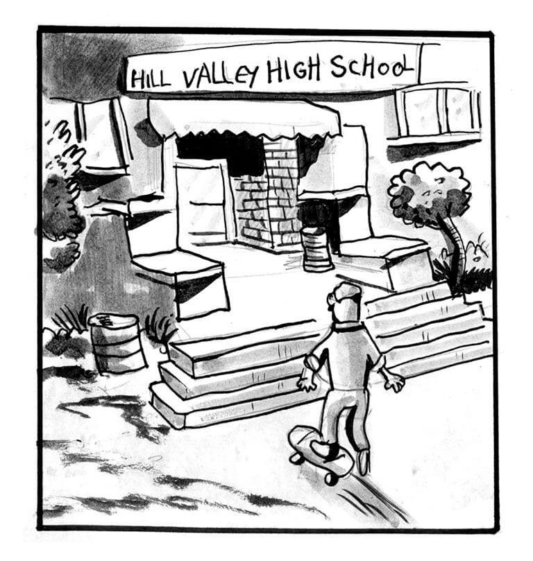 Marty walks into his high school
