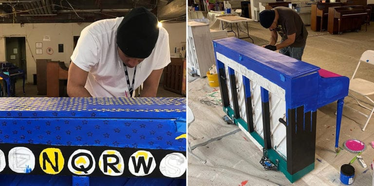 Jayson Valles adds a base coat to his Sing for Hope Piano