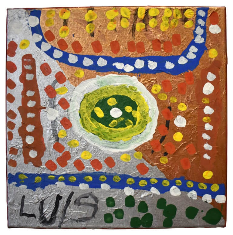 A colorful painting made from metallic tones and bright colored dots, signed by Luis Clemente
