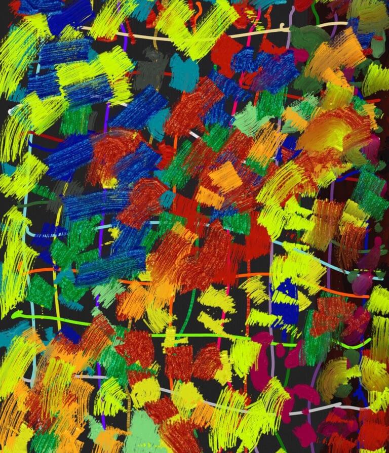 A digital rendering of bright, brush-like paint strokes