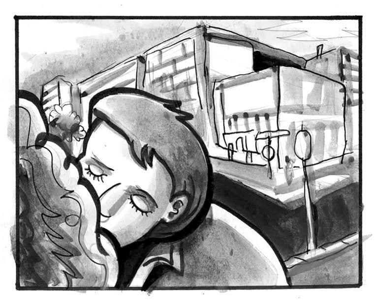 Marty McFly kisses Jennifer