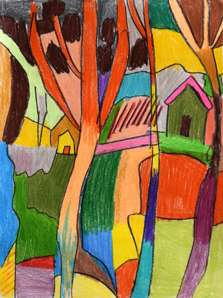 A sketch of a Colorful Landscape with a Green and Pink House