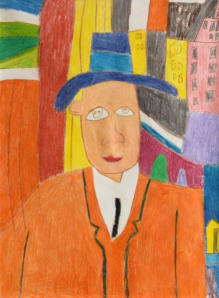 A sketch of a Man in Orange with a Blue Hat
