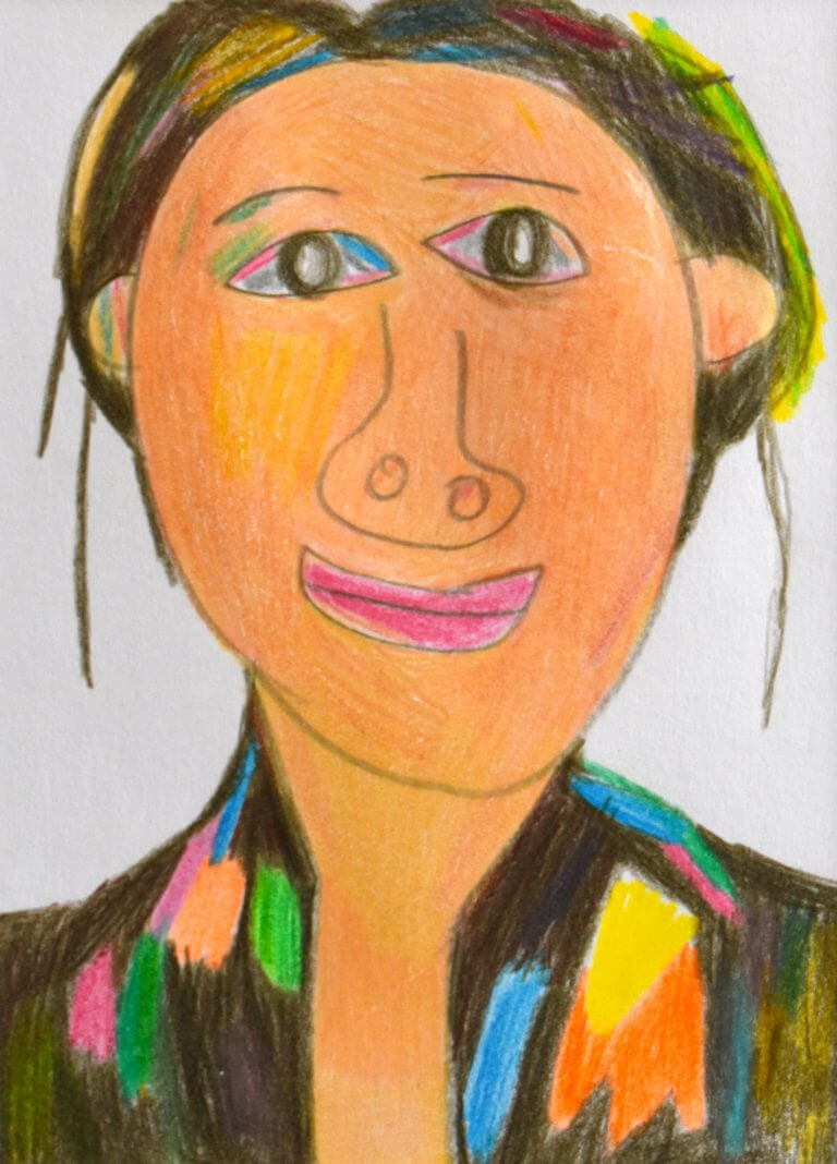 Sketch of a Woman with Multicolor Eyes and Blouse