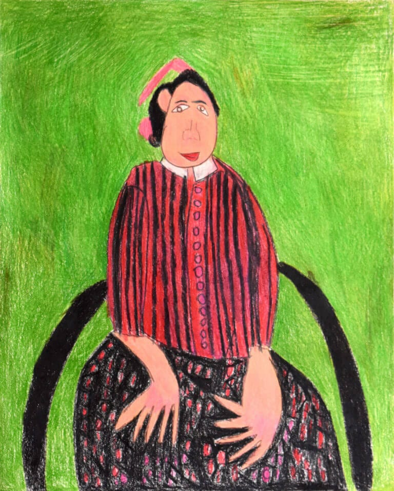 A sketch of a Woman with Red & Black Striped Blouse