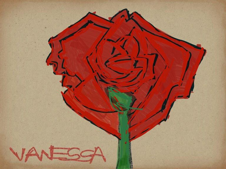 Digital rendering of a rose