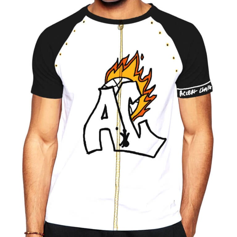 A digitally rendered T-shirt design displaying a zipper and an Accept the Challenge logo