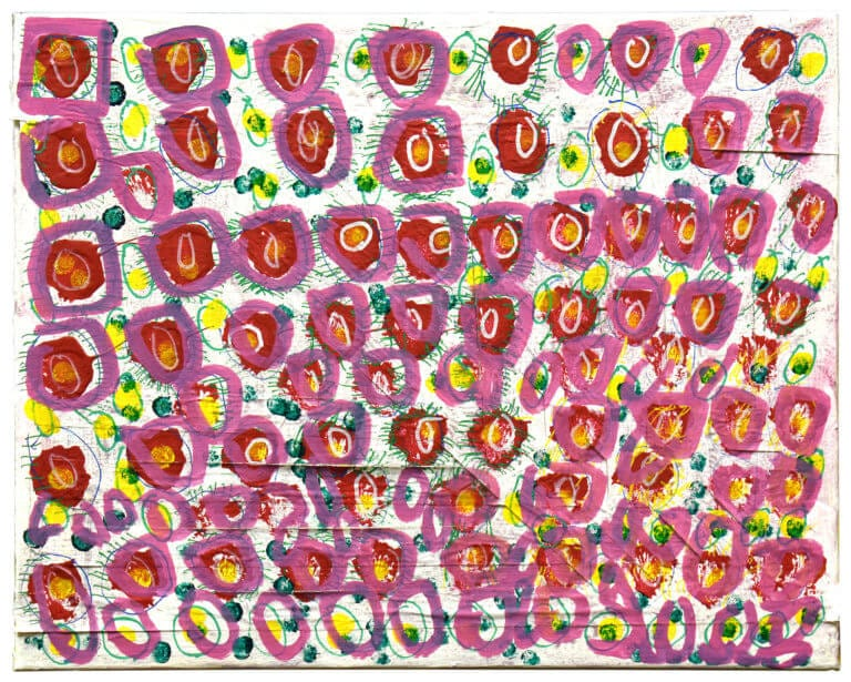 A collection of pink circles, decorated with disordered green marker strokes, on a white background