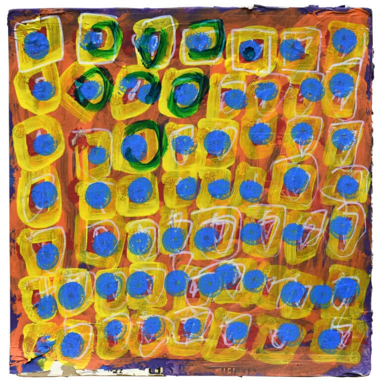 A painting on a record sleeve, showing yellow squares with blue dots inside