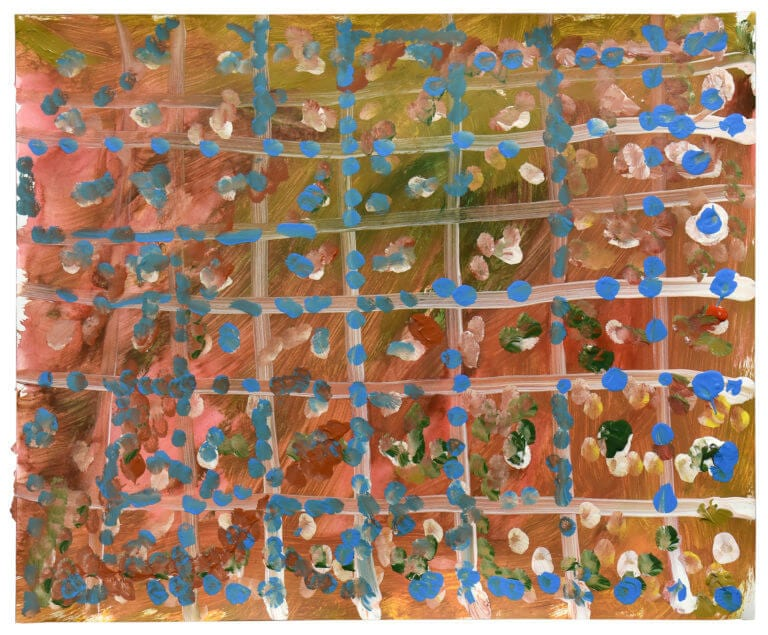 A chaotics arrangement of blue brush strokes on a multi-colored painting that includes a grid
