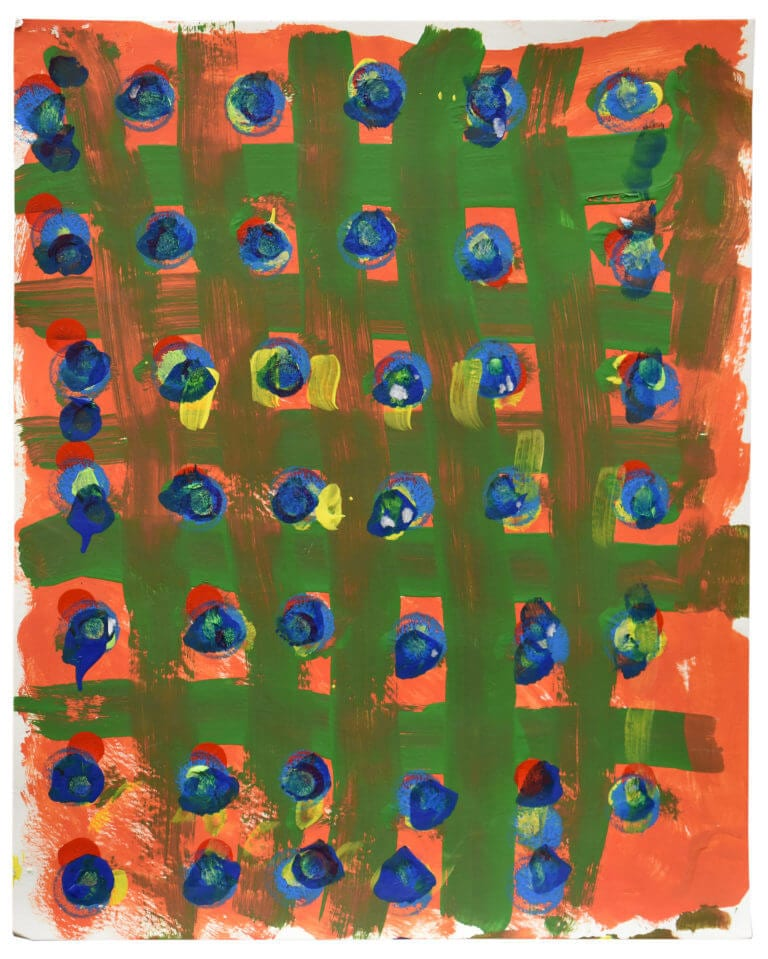 A series of painted blue circles, divided by a broad green grid, on an orange florescent background