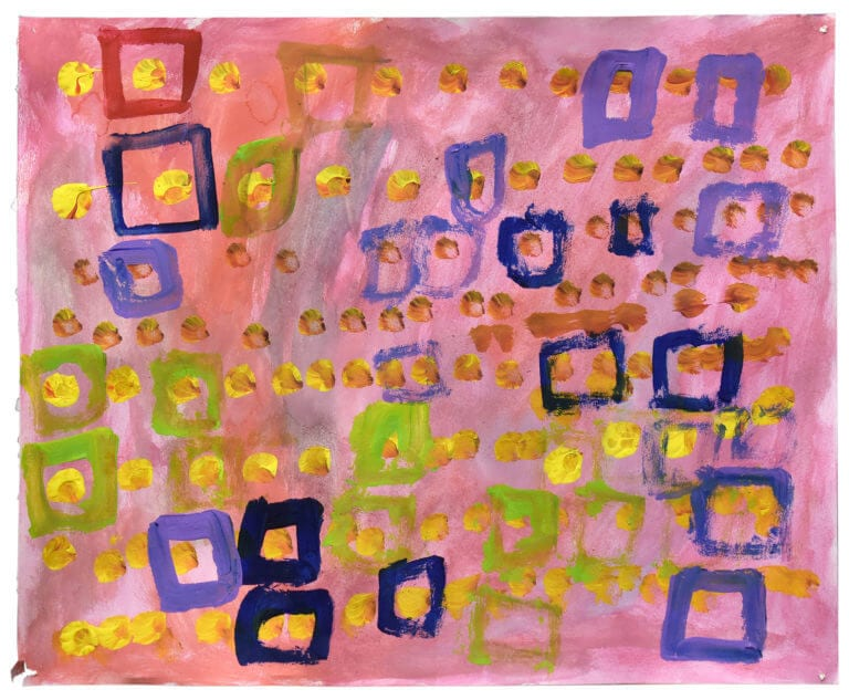 A painting of multi-colored squares encasing yellow dots on a pink background