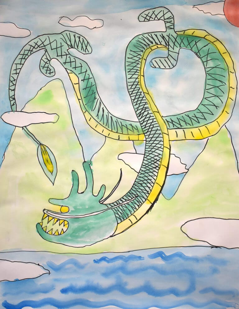 A dragon lunges toward a body of water