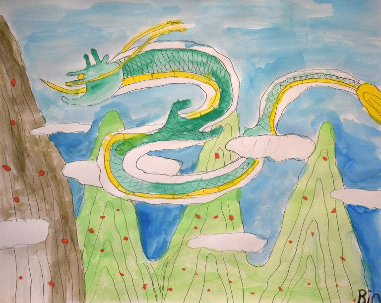 A dragon flies through the mountains, its long tail twirling between the peaks