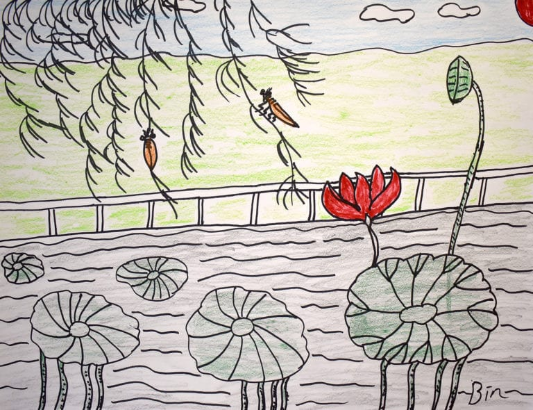 Two small crickets grasp the stems of a tree, hovering above a pond of lily pads