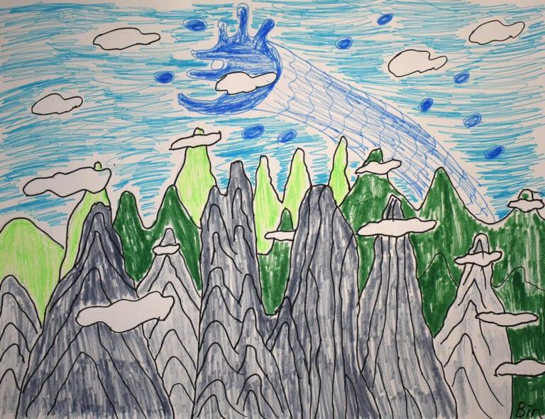 A dragon takes flight atop a series of mountains