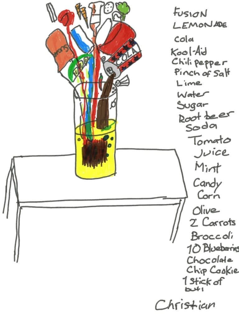 A recipe for Fusion Lemonade, created by artist, Christian Forbes