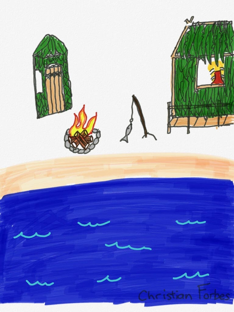 A digital rendering of a campfire, burining between two huts, lakeside