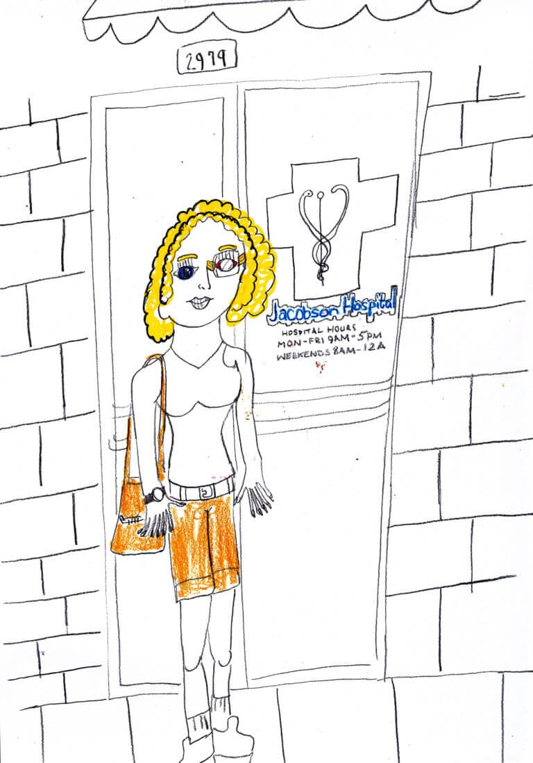 A cartoon illustration of a woman existing a hospital, wearing an eye patch