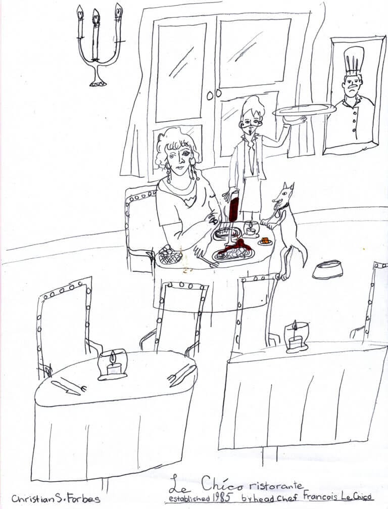 A cartoon drawing of a restaurant scene