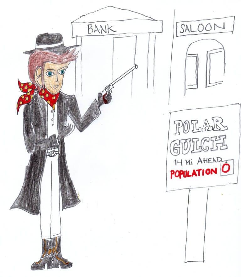 A cartoon illustratioon of a bank robber, holding a gun