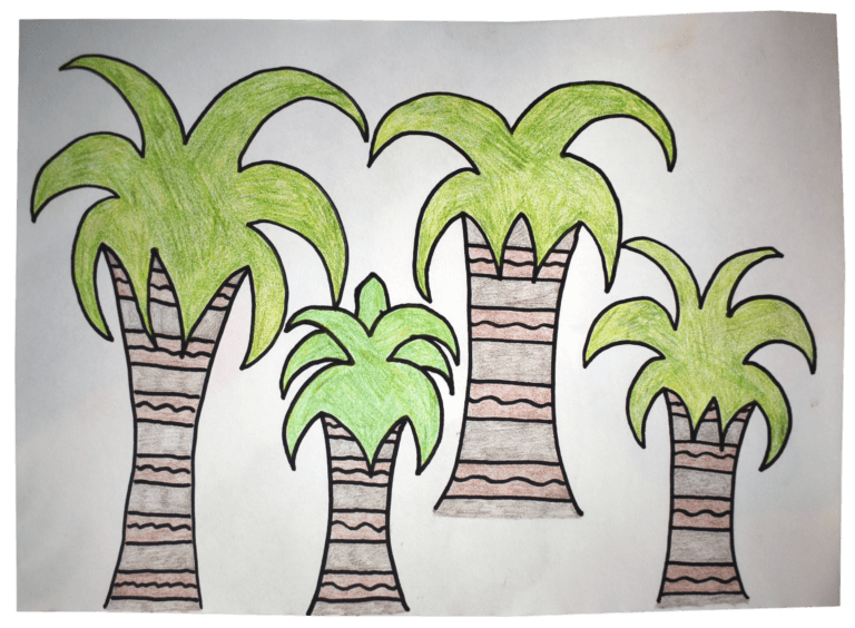 An illustration of 4 palm trees