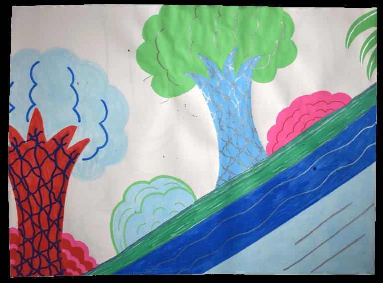 An illustration of trees on a hillside