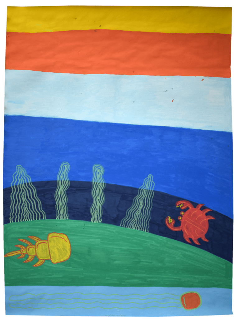 An illustration depicting an underwater scene with a crab and a trilobite