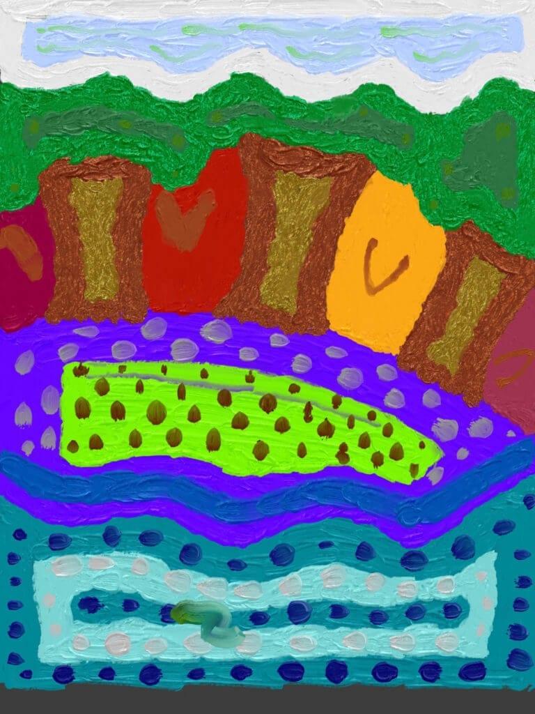 A colorful depiction of a landscape