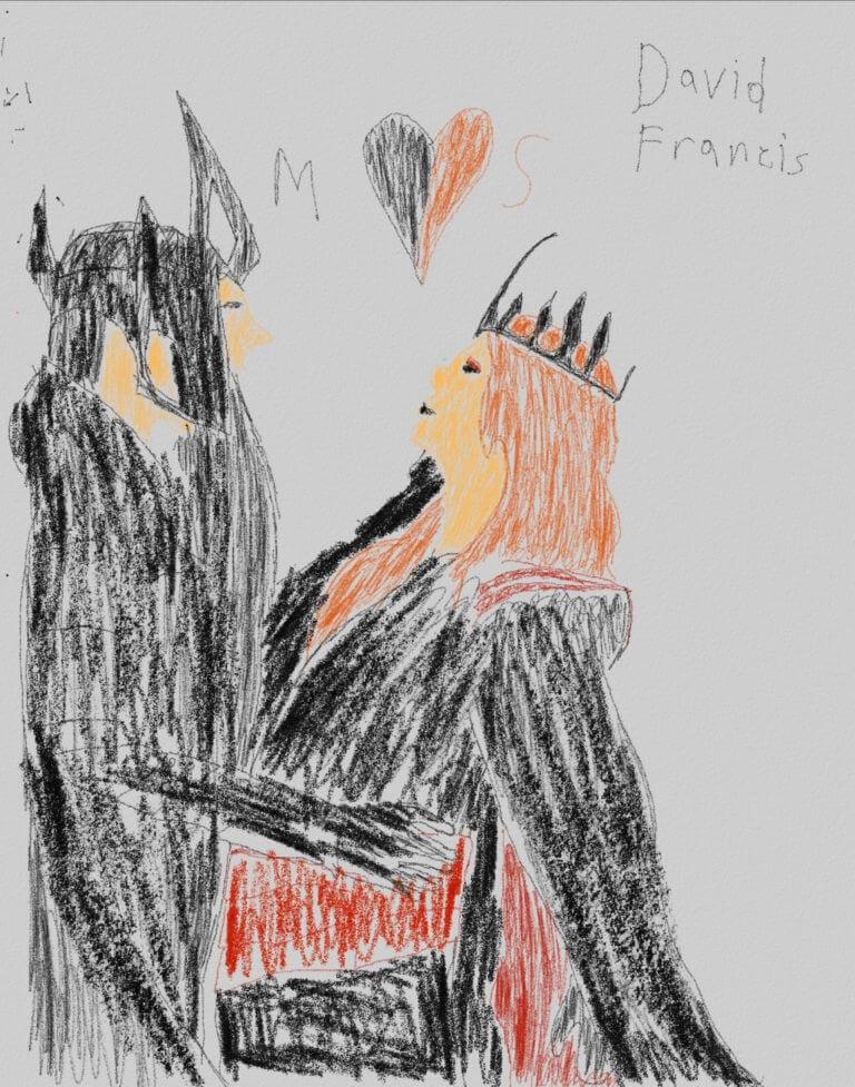 A digital sketch of a male and female figure in embrace, each wearing a headdress