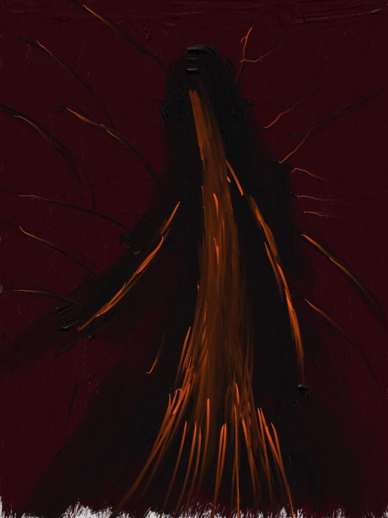 An abstracted orange shape, similar to a tree, which appears to have arms, on a muted maroon background