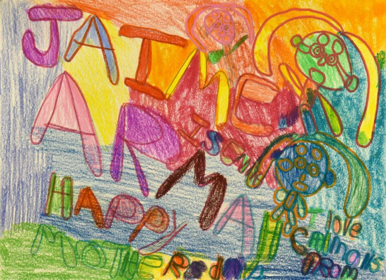 A crayon Mothers Day card from Jamie Armah to her mother