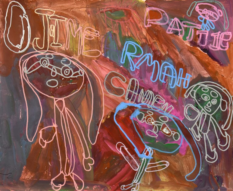 A painting depicting four human characters on a multi-colored background